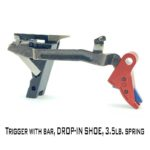 Gen 3 Glock Trigger - Drop-in - RED WITH BLUE